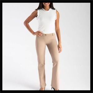 Betabrand Classic Dress Yoga Pants in Khaki Twill